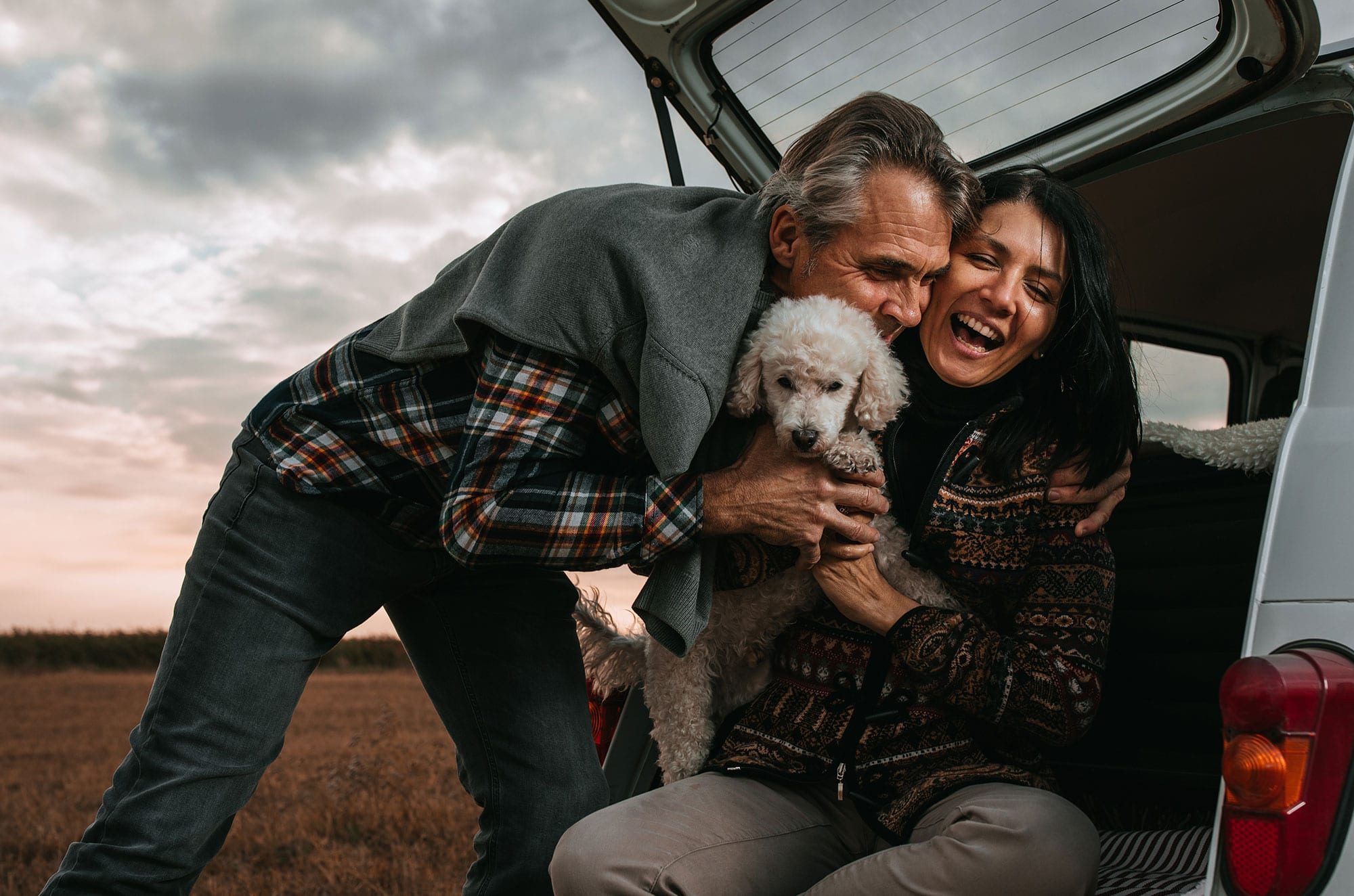 Couple with dog finances
